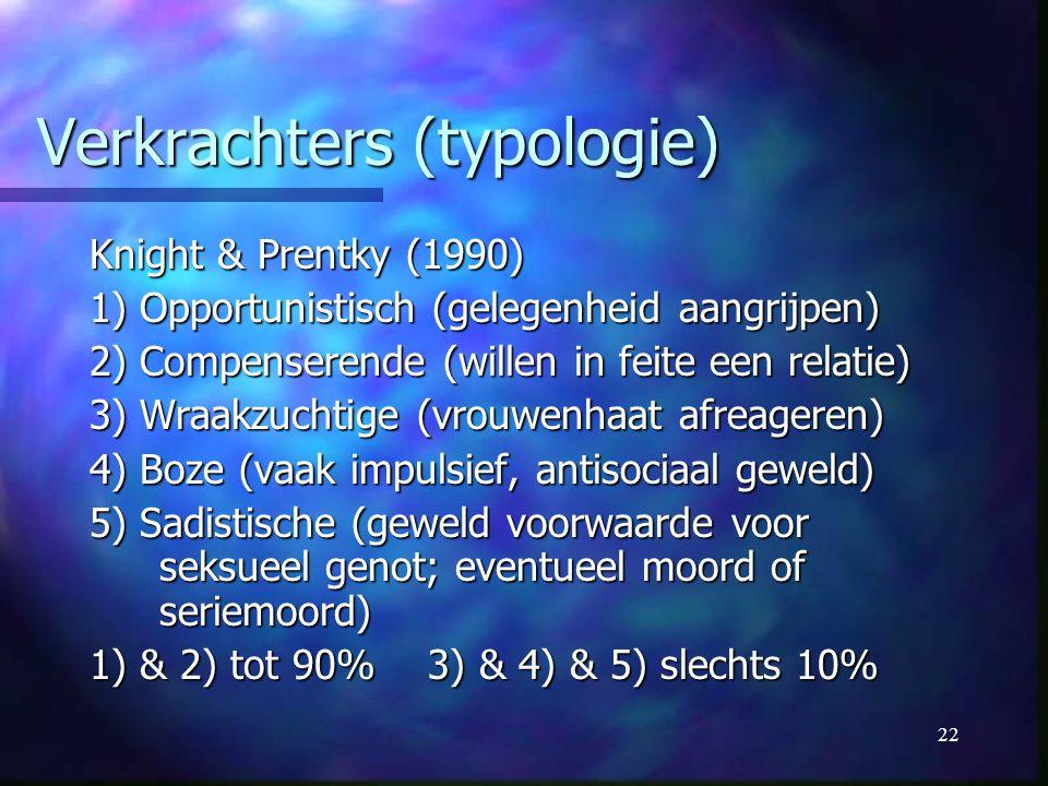 22 Verkrachters (typologie) Knight & Prentky (1990) 1) Opportunistisch (gelegenheid aangrijpen) 2) Compenserende (willen in feite een relatie) 3) Wraa