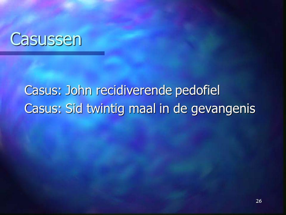 26 Casussen Casus: John recidiverende pedofiel Casus: Sid twintig maal in de gevangenis