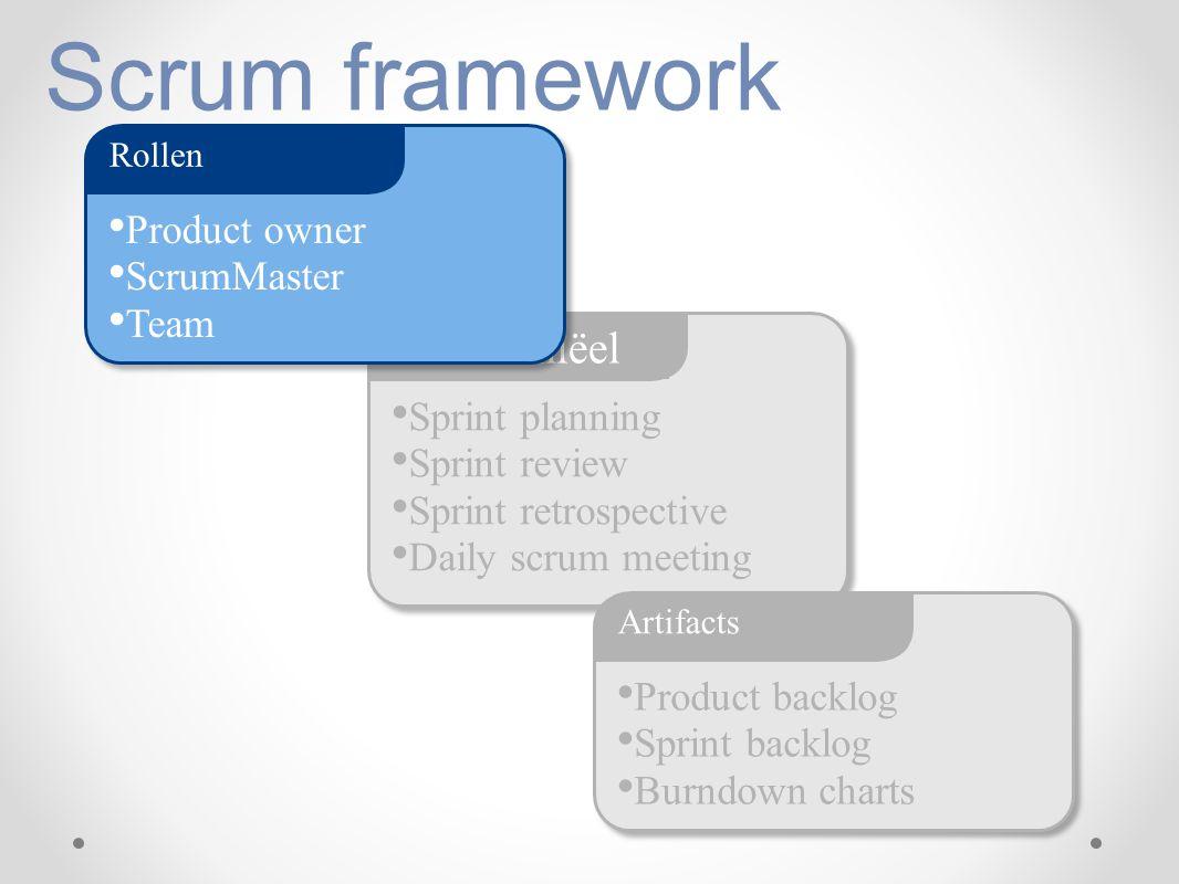 Scrum framework Sprint planning Sprint review Sprint retrospective Daily scrum meeting Ceremoniëel Product backlog Sprint backlog Burndown charts Arti