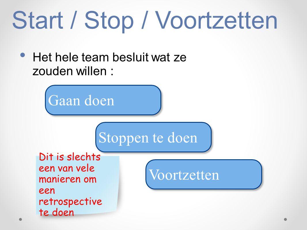 Start / Stop / Voortzetten Het hele team besluit wat ze zouden willen : Gaan doen Stoppen te doen Voortzetten Dit is slechts een van vele manieren om
