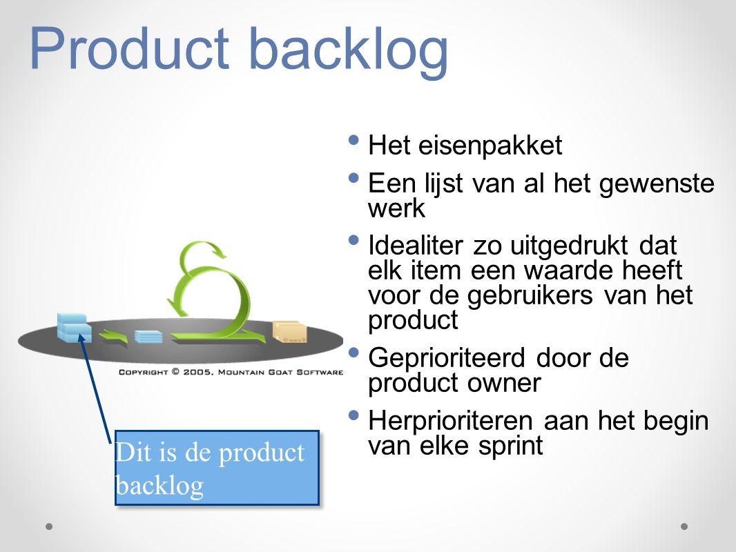 Product backlog Het eisenpakket Een lijst van al het gewenste werk Idealiter zo uitgedrukt dat elk item een waarde heeft voor de gebruikers van het pr
