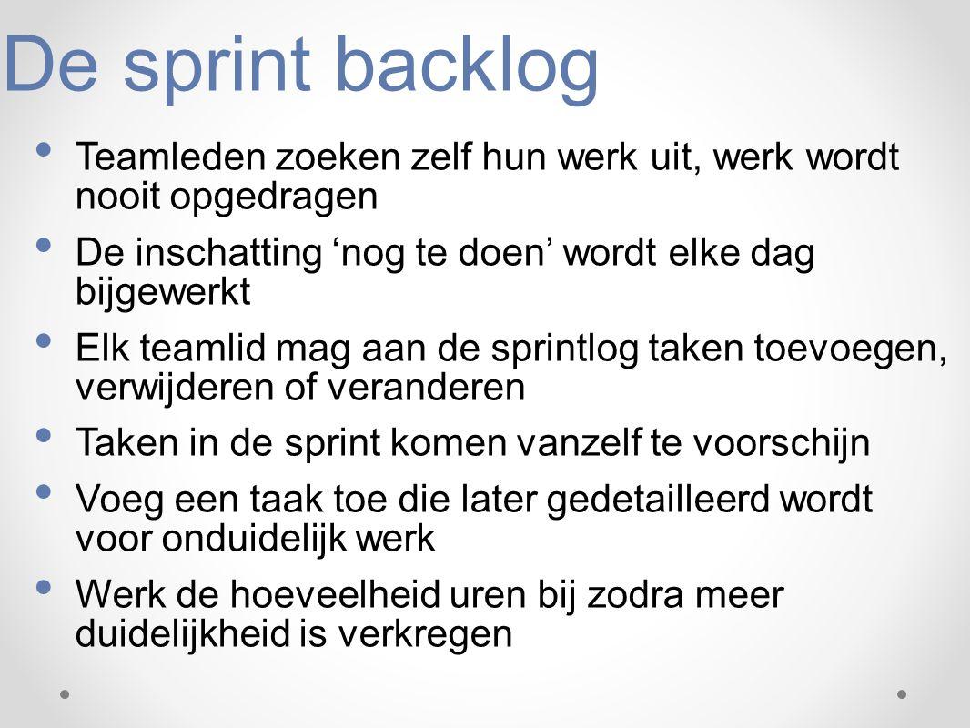 De sprint backlog Teamleden zoeken zelf hun werk uit, werk wordt nooit opgedragen De inschatting 'nog te doen' wordt elke dag bijgewerkt Elk teamlid m