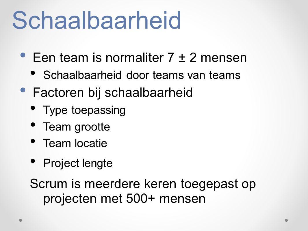 Schaalbaarheid Een team is normaliter 7 ± 2 mensen Schaalbaarheid door teams van teams Factoren bij schaalbaarheid Type toepassing Team grootte Team l