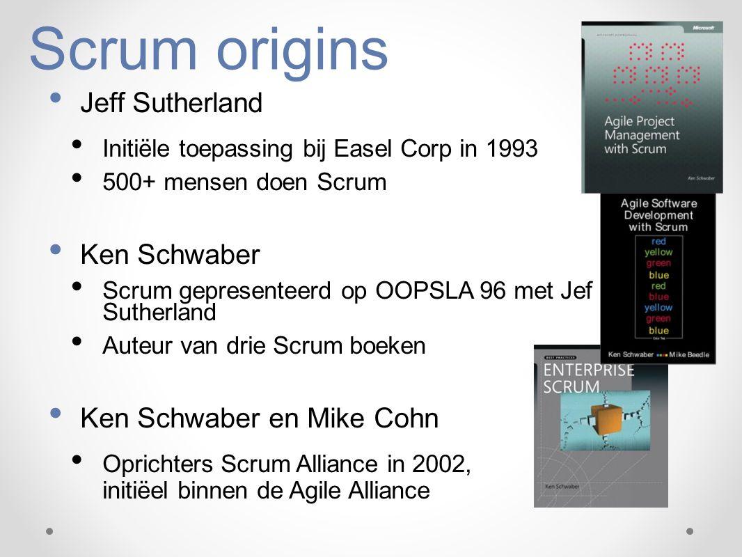 Scrum origins Jeff Sutherland Initiële toepassing bij Easel Corp in 1993 500+ mensen doen Scrum Ken Schwaber Scrum gepresenteerd op OOPSLA 96 met Jef