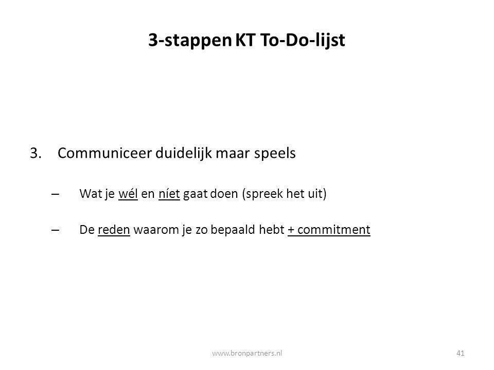 3-stappen KT To-Do-lijst 3.Communiceer duidelijk maar speels – Wat je wél en níet gaat doen (spreek het uit) – De reden waarom je zo bepaald hebt + co