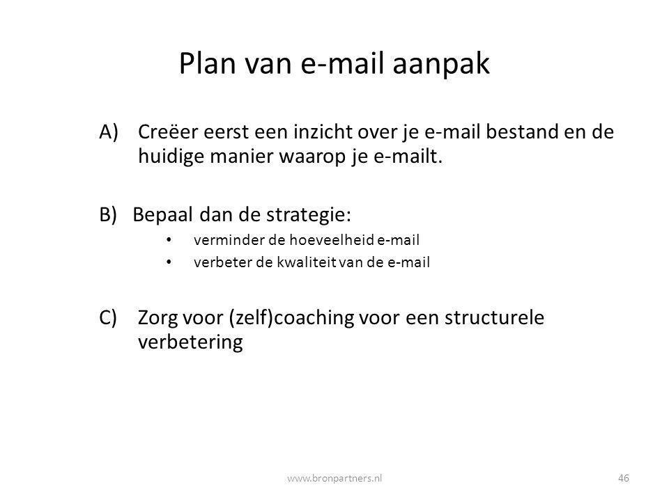 Plan van e-mail aanpak A)Creëer eerst een inzicht over je e-mail bestand en de huidige manier waarop je e-mailt. B) Bepaal dan de strategie: verminder