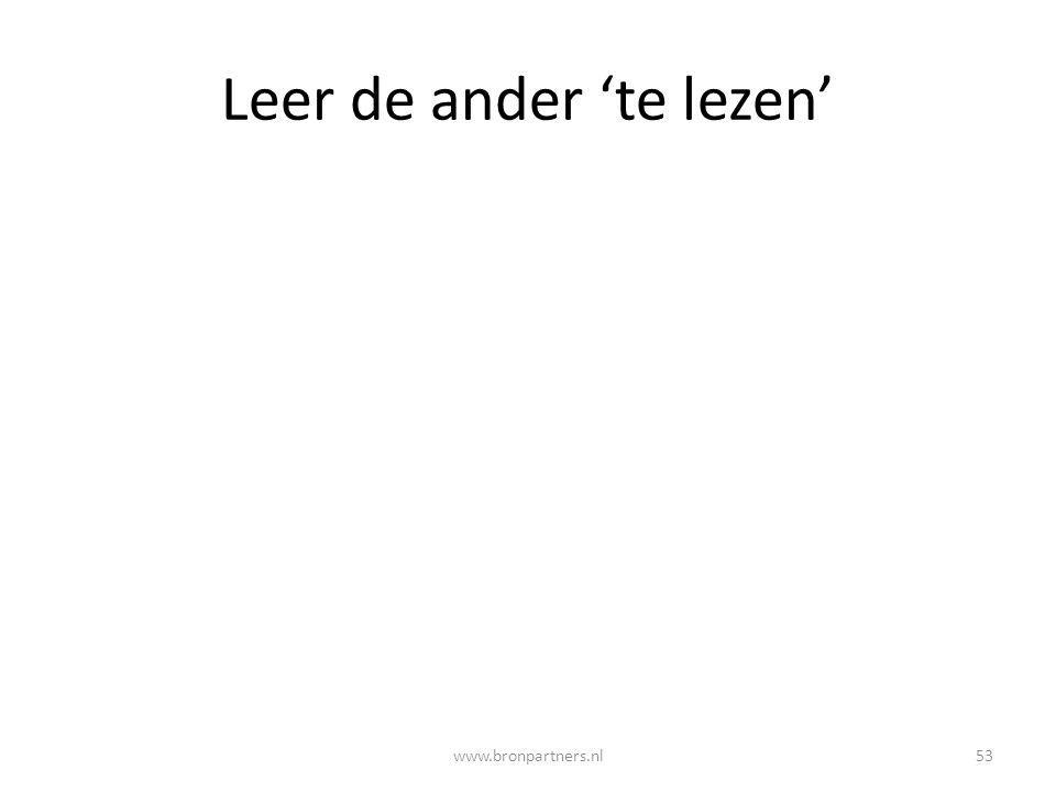 Leer de ander 'te lezen' 53www.bronpartners.nl