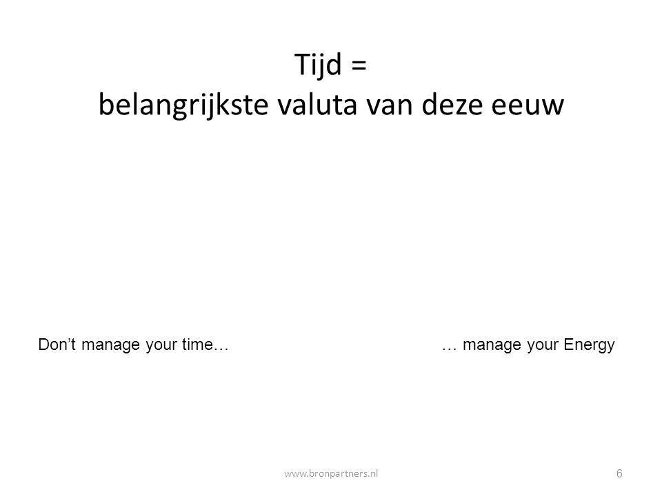 Tijd = belangrijkste valuta van deze eeuw 6 Don't manage your time…… manage your Energy www.bronpartners.nl