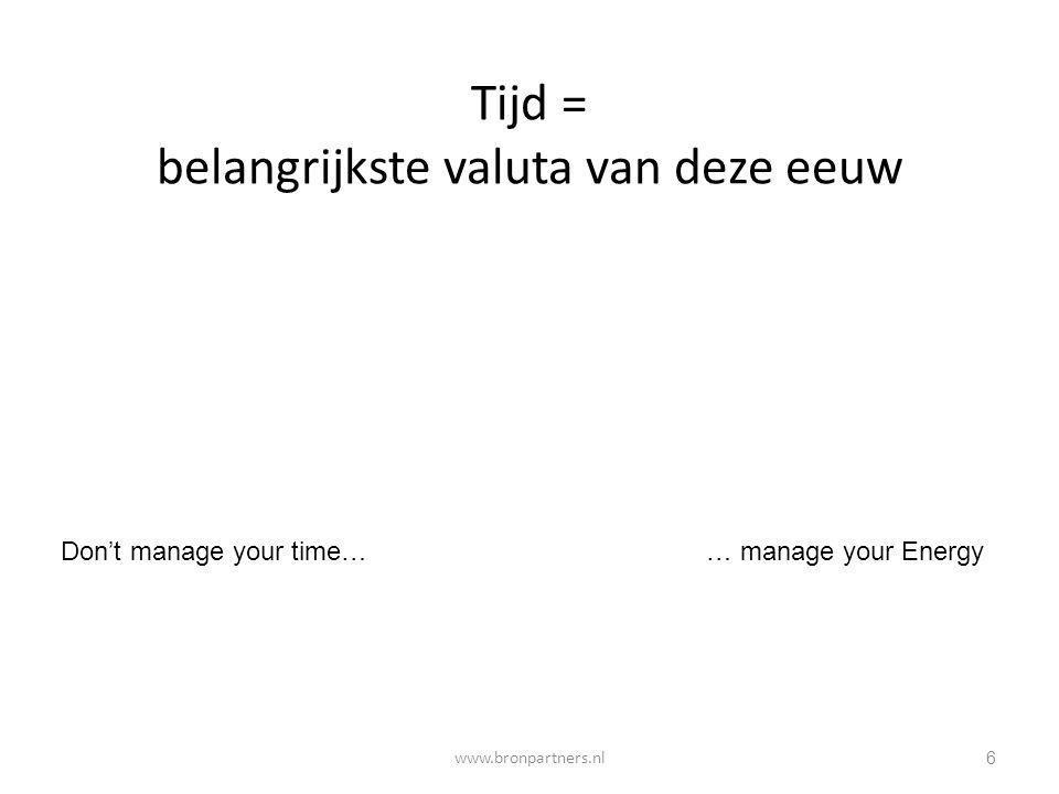 2 belangrijke tijd-win-regels Hanteer de 'tijd-jat'regel voor te laat komers Hanteer de 'Need- of Nice to Know'- regel 37 www.bronpartners.nl