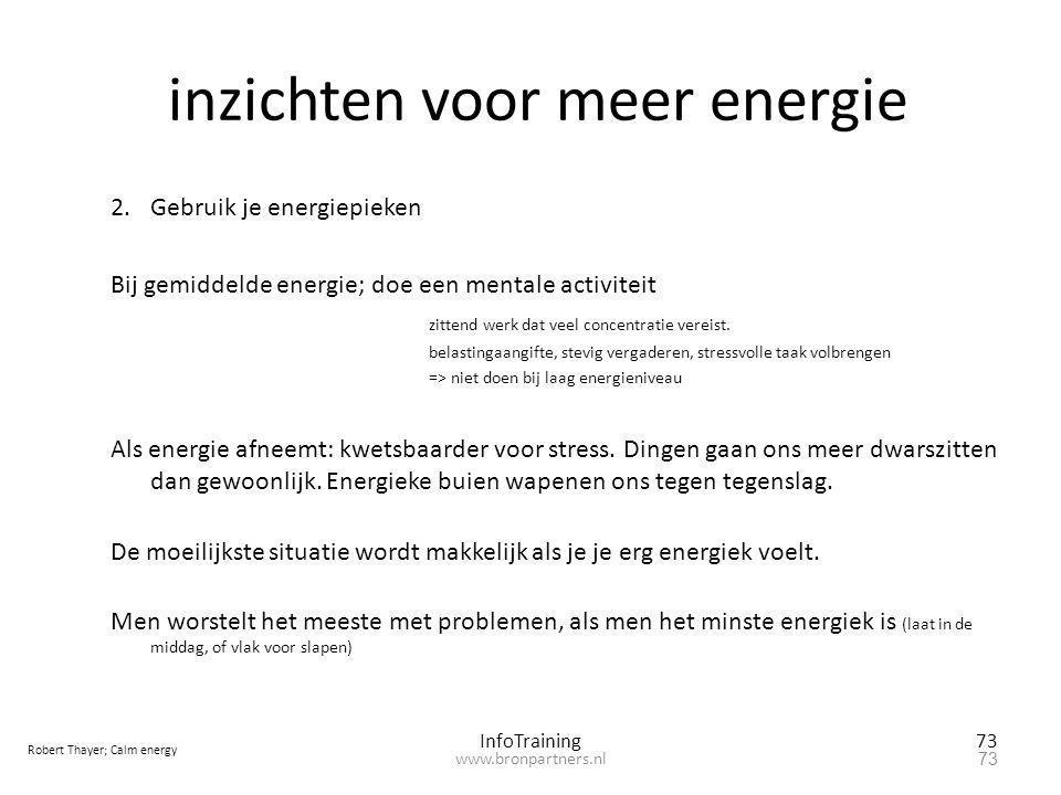 inzichten voor meer energie 2.Gebruik je energiepieken Bij gemiddelde energie; doe een mentale activiteit zittend werk dat veel concentratie vereist.