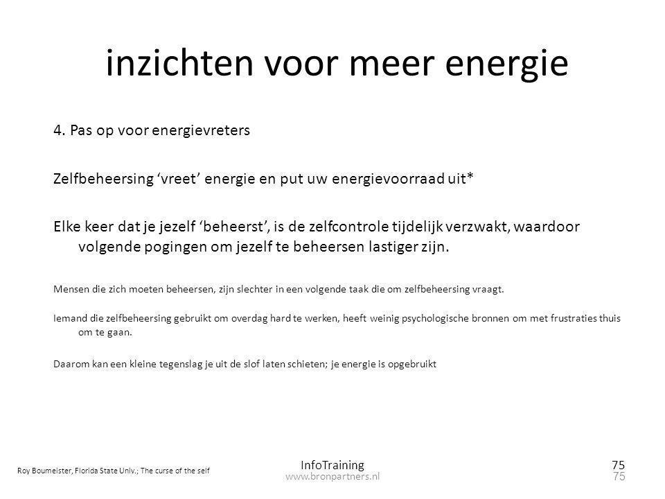 inzichten voor meer energie 4. Pas op voor energievreters Zelfbeheersing 'vreet' energie en put uw energievoorraad uit* Elke keer dat je jezelf 'behee