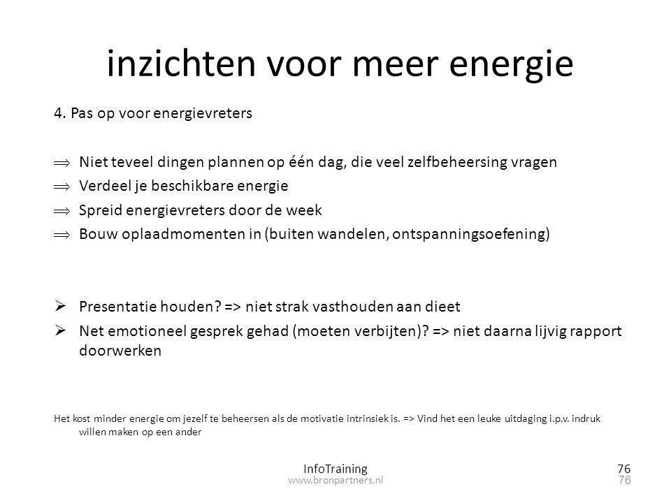 inzichten voor meer energie 4. Pas op voor energievreters  Niet teveel dingen plannen op één dag, die veel zelfbeheersing vragen  Verdeel je beschik