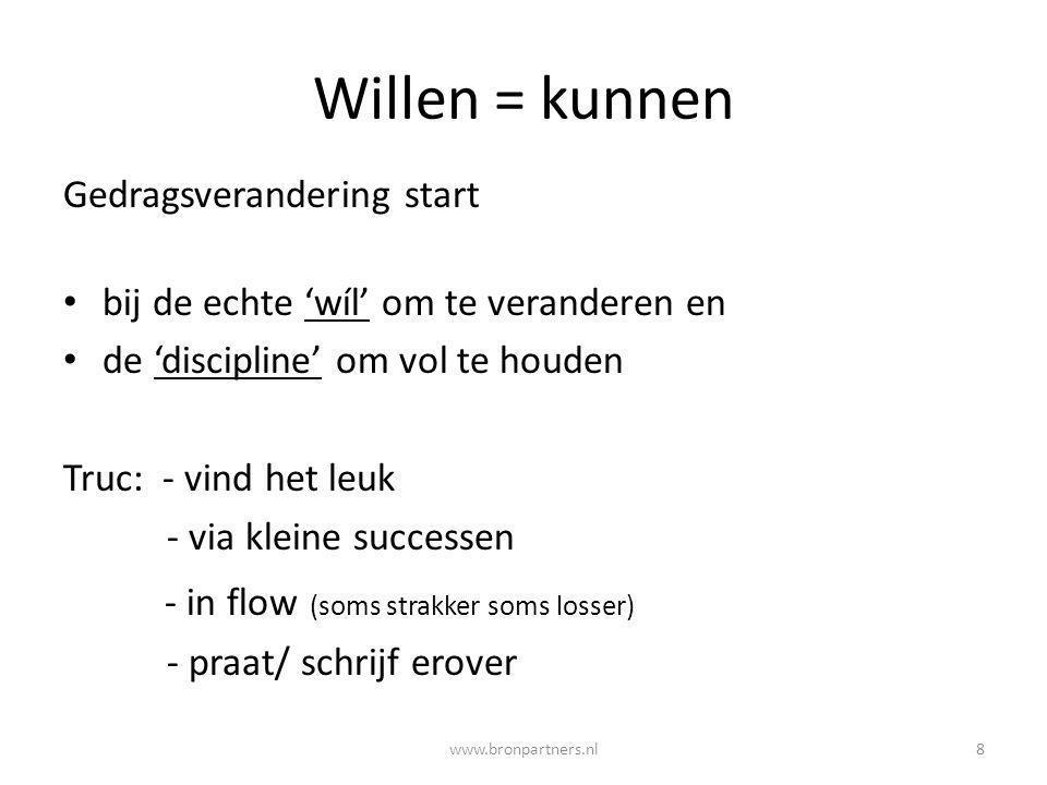 Willen = kunnen Gedragsverandering start bij de echte 'wíl' om te veranderen en de 'discipline' om vol te houden Truc: - vind het leuk - via kleine su