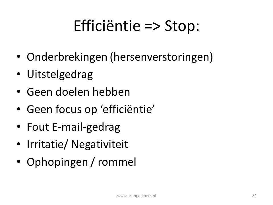 Efficiëntie => Stop: Onderbrekingen (hersenverstoringen) Uitstelgedrag Geen doelen hebben Geen focus op 'efficiëntie' Fout E-mail-gedrag Irritatie/ Ne