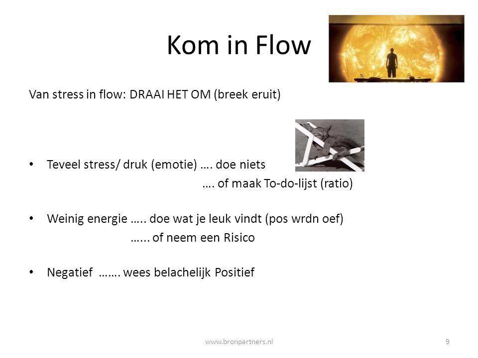Kom in Flow Van stress in flow: DRAAI HET OM (breek eruit) Teveel stress/ druk (emotie) …. doe niets …. of maak To-do-lijst (ratio) Weinig energie …..