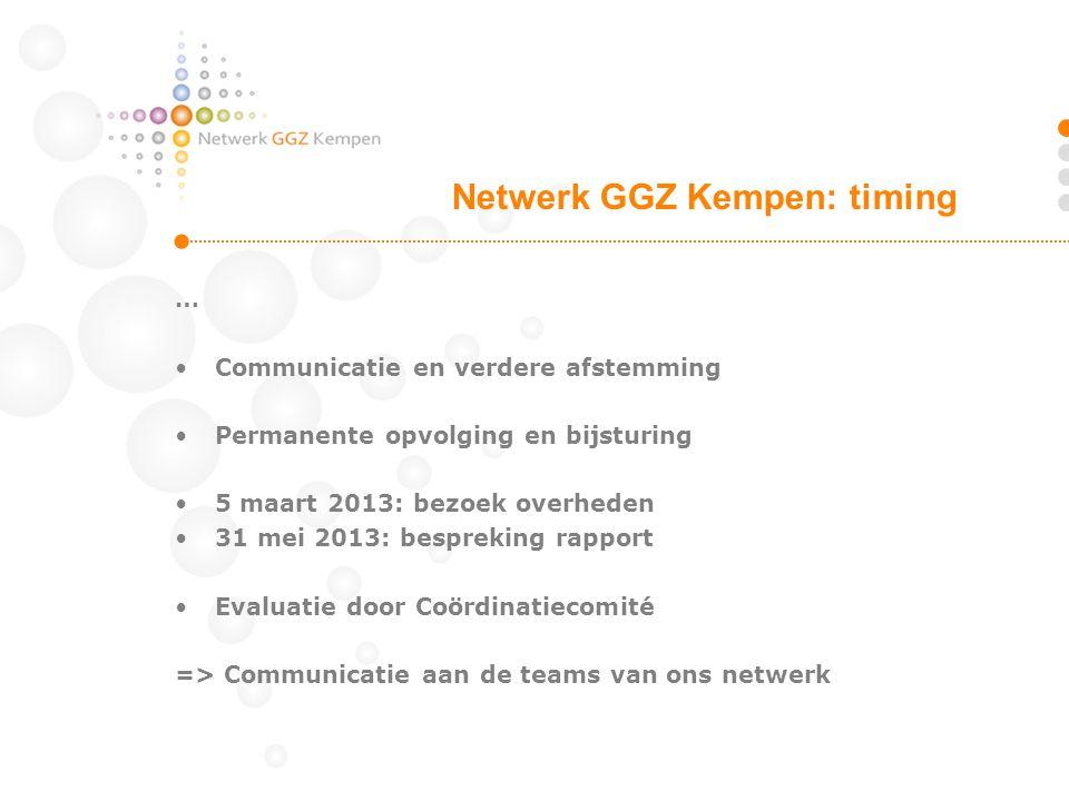 … Communicatie en verdere afstemming Permanente opvolging en bijsturing 5 maart 2013: bezoek overheden 31 mei 2013: bespreking rapport Evaluatie door