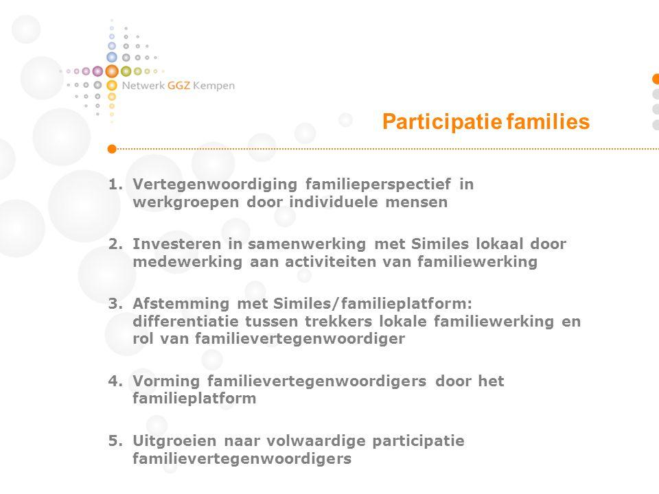 1.Vertegenwoordiging familieperspectief in werkgroepen door individuele mensen 2.Investeren in samenwerking met Similes lokaal door medewerking aan ac