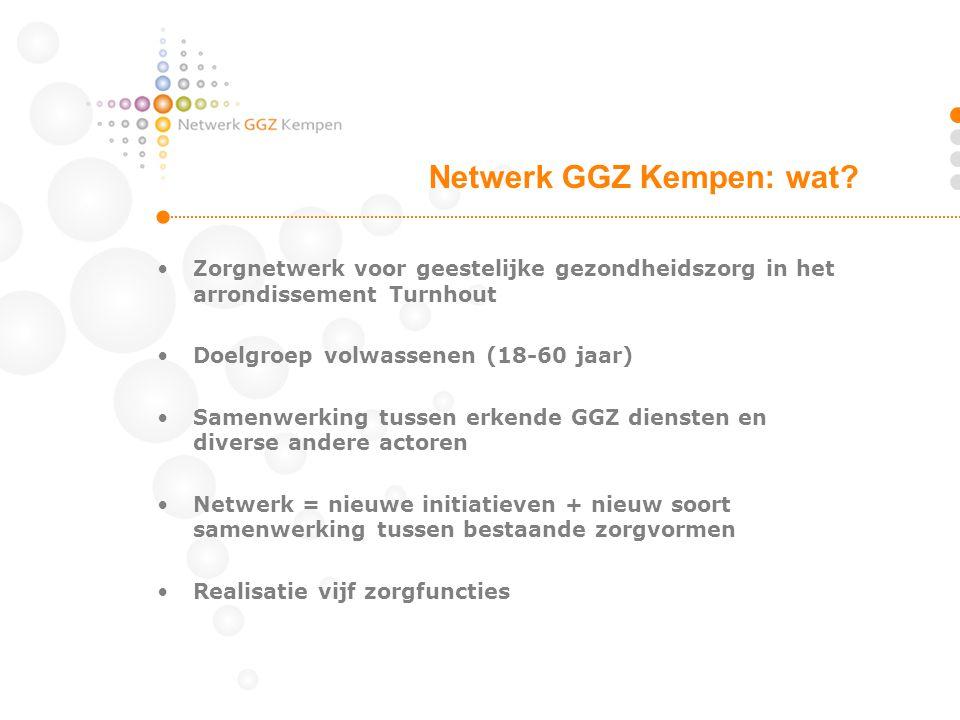 GGZ actoren arrondissement Turnhout Doelgroep volwassenen OPZ Geel CGG Kempen AZ Turnhout PVT Salto IBW Kempen PVT De Liereman wordt netwerkpartner in 2013 Netwerk GGZ Kempen: wie?