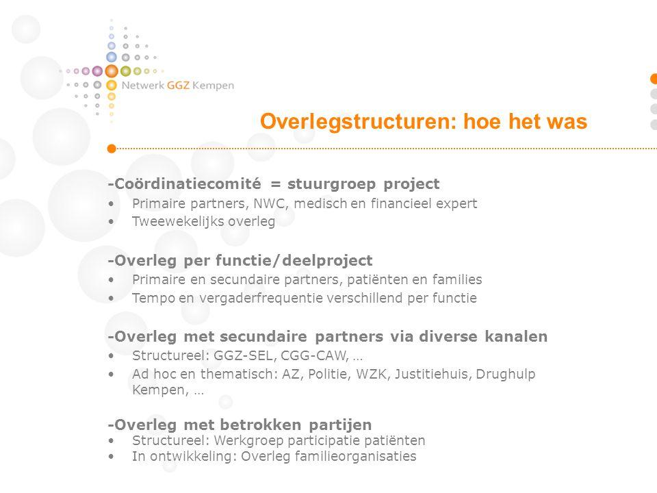 -Coördinatiecomité = stuurgroep project Primaire partners, NWC, medisch en financieel expert Tweewekelijks overleg -Overleg per functie/deelproject Pr
