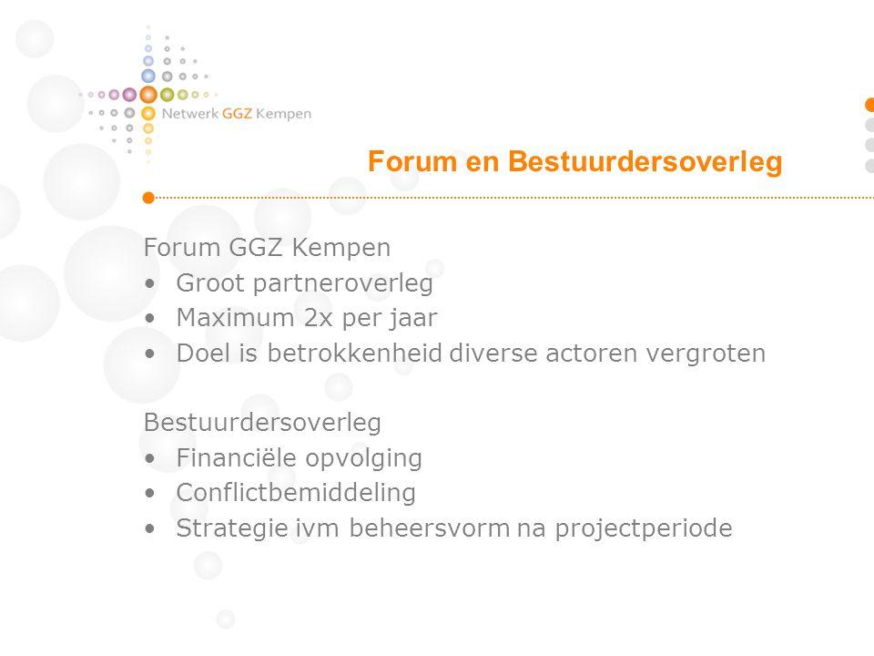 Forum GGZ Kempen Groot partneroverleg Maximum 2x per jaar Doel is betrokkenheid diverse actoren vergroten Bestuurdersoverleg Financiële opvolging Conf
