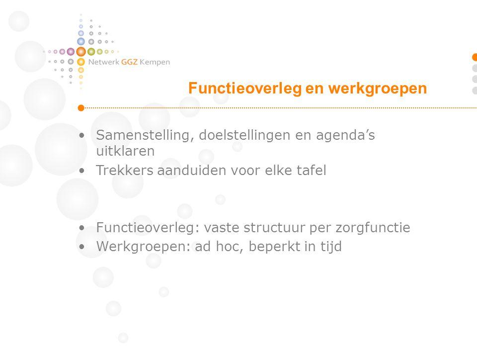 Samenstelling, doelstellingen en agenda's uitklaren Trekkers aanduiden voor elke tafel Functieoverleg: vaste structuur per zorgfunctie Werkgroepen: ad