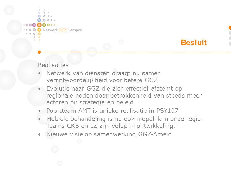 Realisaties Netwerk van diensten draagt nu samen verantwoordelijkheid voor betere GGZ Evolutie naar GGZ die zich effectief afstemt op regionale noden