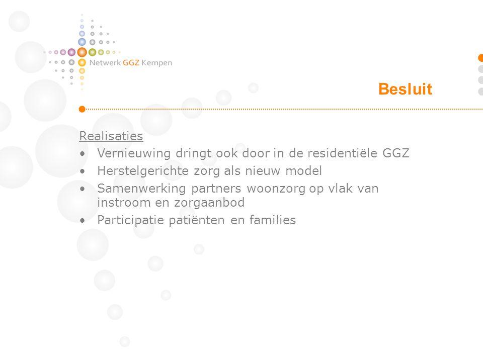 Realisaties Vernieuwing dringt ook door in de residentiële GGZ Herstelgerichte zorg als nieuw model Samenwerking partners woonzorg op vlak van instroo