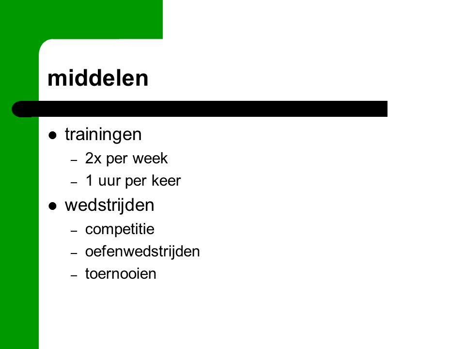 middelen trainingen – 2x per week – 1 uur per keer wedstrijden – competitie – oefenwedstrijden – toernooien