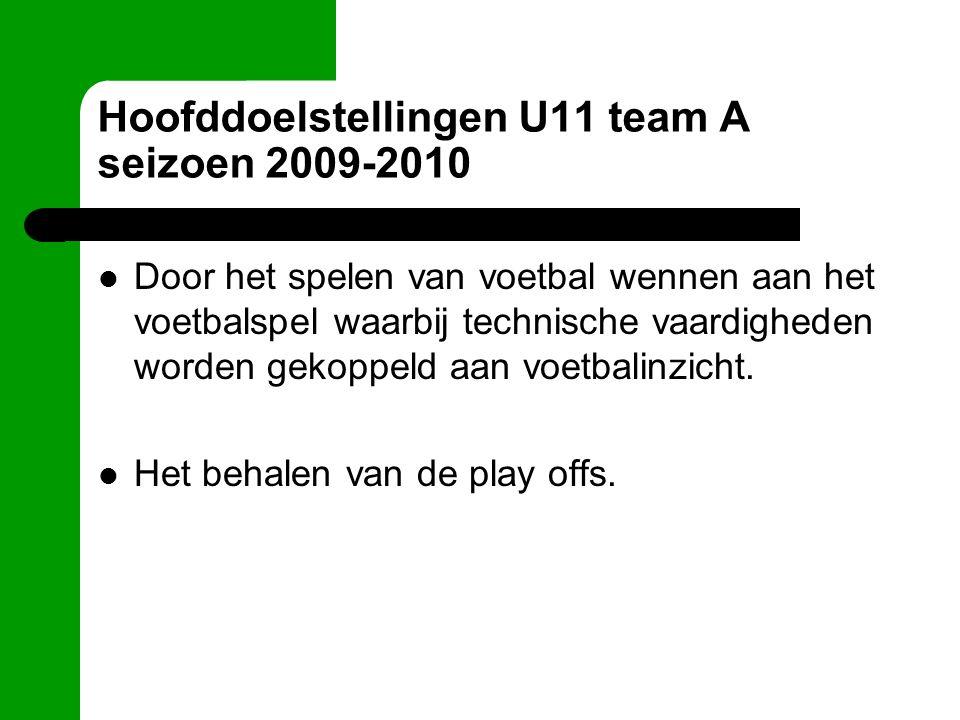 Hoofddoelstellingen U11 team A seizoen 2009-2010 Door het spelen van voetbal wennen aan het voetbalspel waarbij technische vaardigheden worden gekoppeld aan voetbalinzicht.