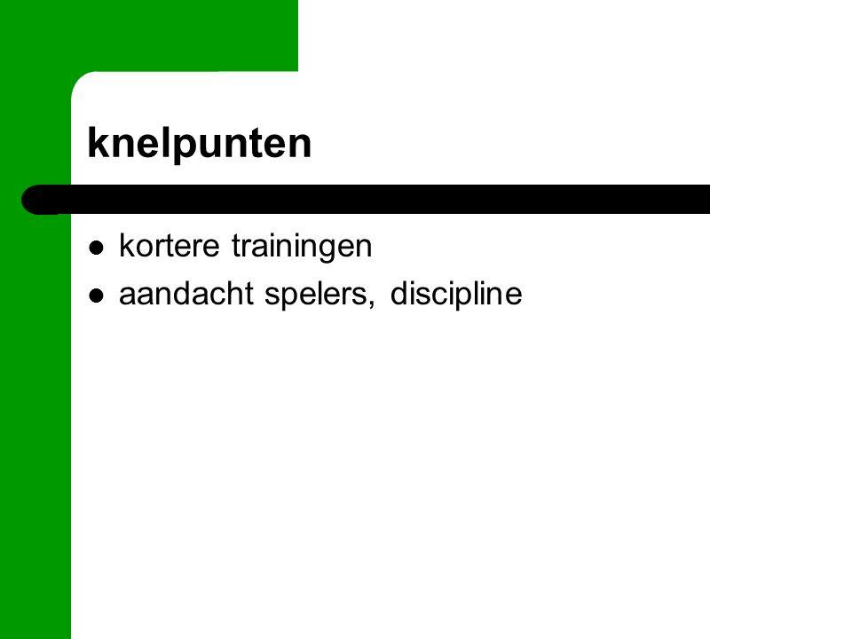 knelpunten kortere trainingen aandacht spelers, discipline
