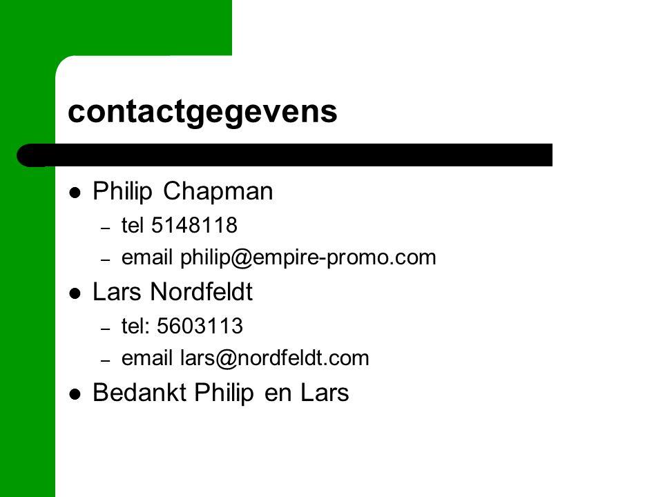 contactgegevens Philip Chapman – tel 5148118 – email philip@empire-promo.com Lars Nordfeldt – tel: 5603113 – email lars@nordfeldt.com Bedankt Philip e