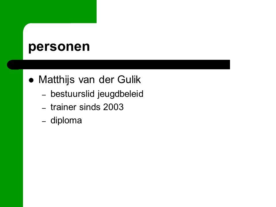 personen Matthijs van der Gulik – bestuurslid jeugdbeleid – trainer sinds 2003 – diploma