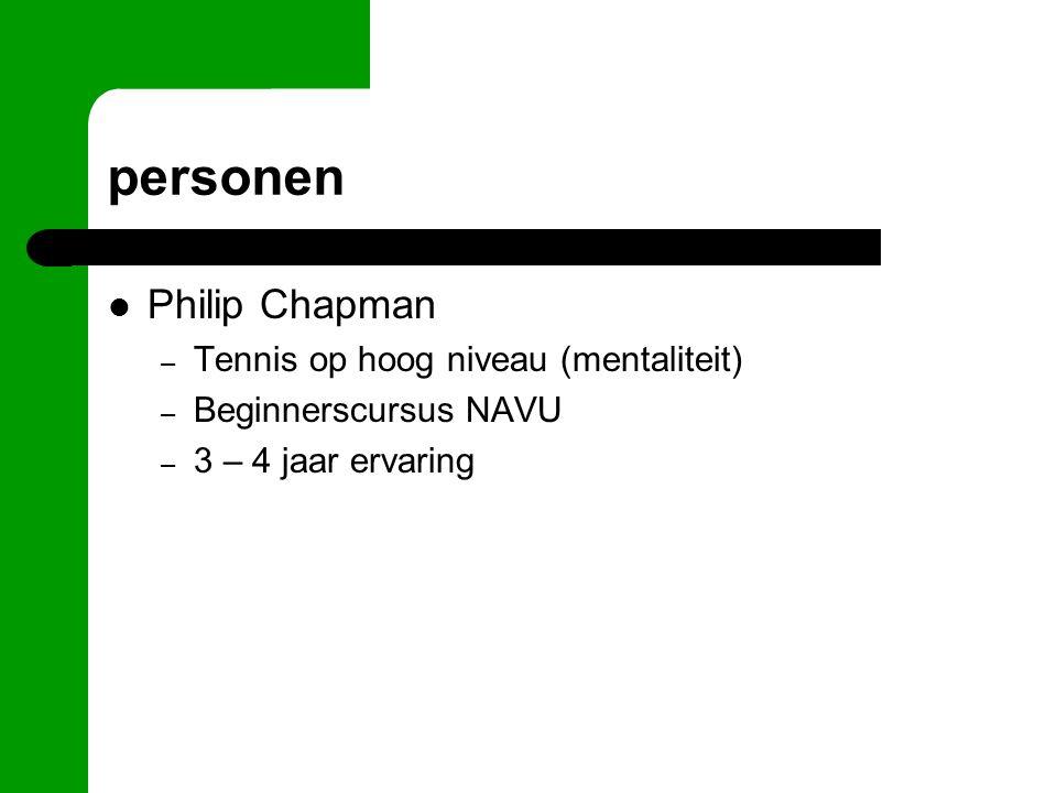 personen Philip Chapman – Tennis op hoog niveau (mentaliteit) – Beginnerscursus NAVU – 3 – 4 jaar ervaring
