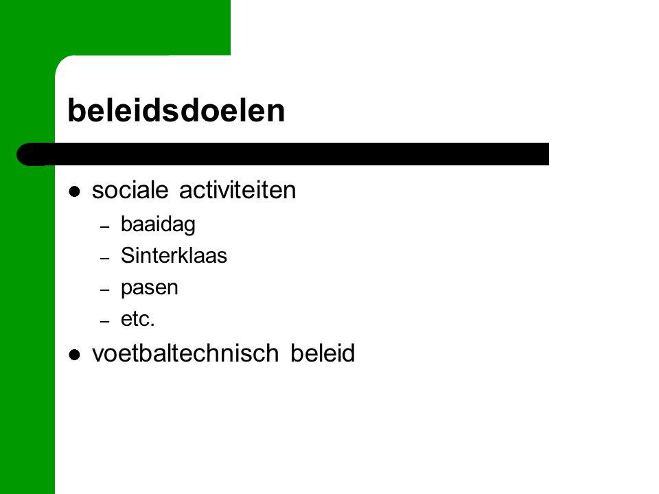 beleidsdoelen sociale activiteiten – baaidag – Sinterklaas – pasen – etc. voetbaltechnisch beleid