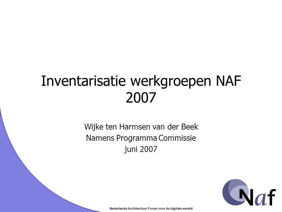 Nederlands Architectuur Forum voor de digitale wereld Inventarisatie werkgroepen NAF 2007 Wijke ten Harmsen van der Beek Namens Programma Commissie juni 2007