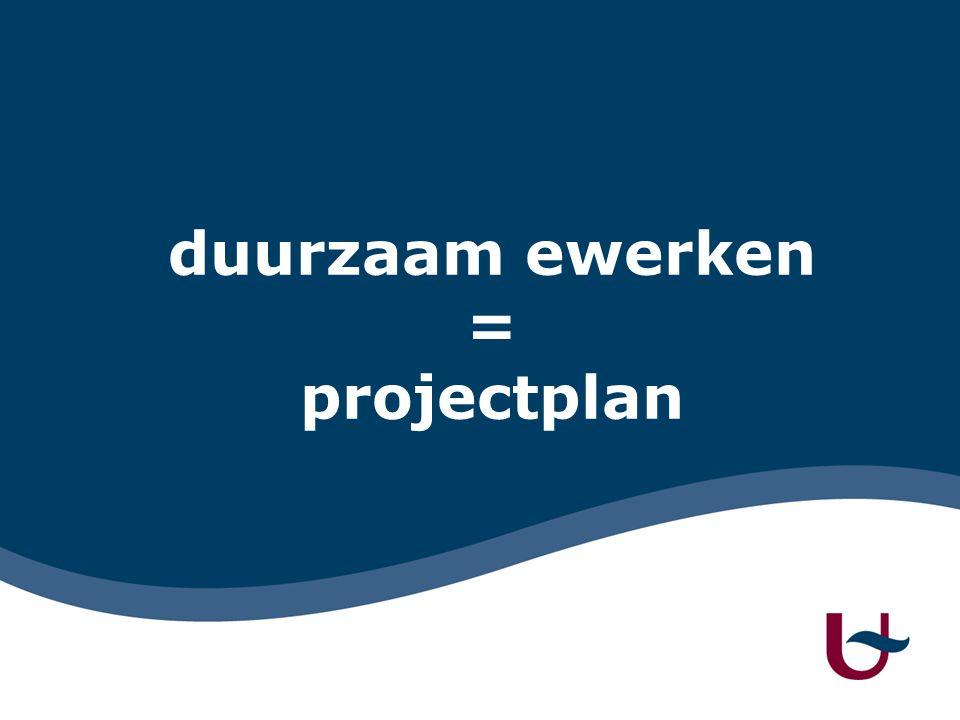 duurzaam ewerken = projectplan