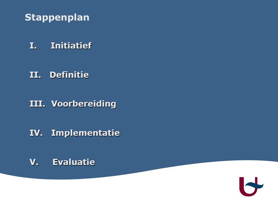 Stappenplan I. Initiatief II. Definitie III. Voorbereiding IV. Implementatie V. Evaluatie