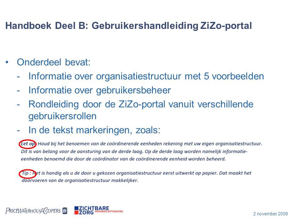  2 november 2009 Handboek Deel B: Gebruikershandleiding ZiZo-portal Onderdeel bevat: -Informatie over organisatiestructuur met 5 voorbeelden -Infor