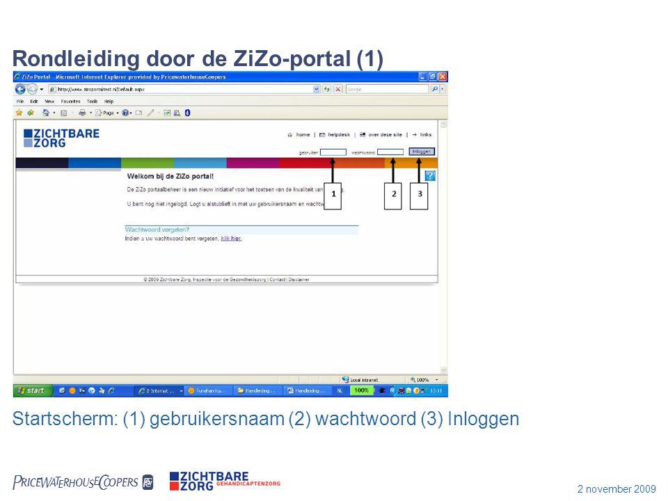 2 november 2009 Rondleiding door ZiZo-portal (2) Homepagina na het inloggen