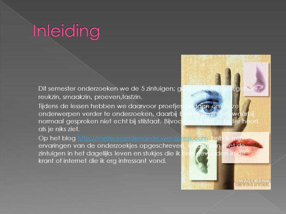 Dit semester onderzoeken we de 5 zintuigen; gezichtsvermogen,gehoor, reukzin, smaakzin, proeven,tastzin. Tijdens de lessen hebben we daarvoor proefjes