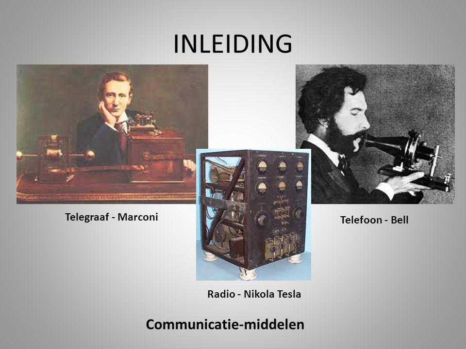 INLEIDING Communicatie-middelen Telegraaf - Marconi Telefoon - Bell Radio - Nikola Tesla