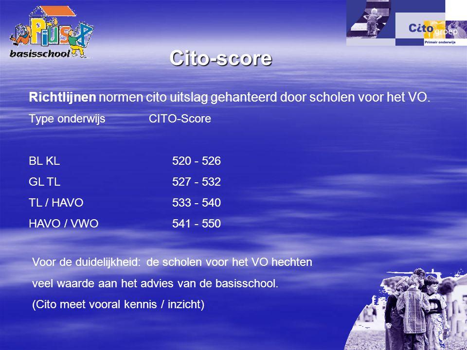 Type onderwijs CITO-Score BL KL 520 - 526 GL TL 527 - 532 TL / HAVO 533 - 540 HAVO / VWO 541 - 550 Richtlijnen normen cito uitslag gehanteerd door sch
