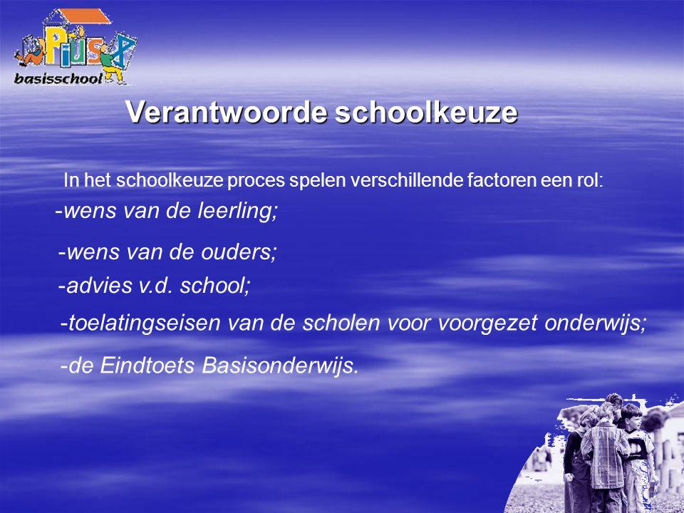 Verantwoorde schoolkeuze In het schoolkeuze proces spelen verschillende factoren een rol: -wens van de leerling; -wens van de ouders; -advies v.d. sch