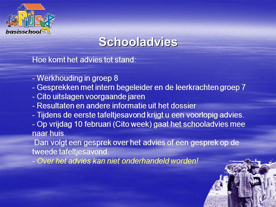 Schooladvies Hoe komt het advies tot stand: - Werkhouding in groep 8 - Gesprekken met intern begeleider en de leerkrachten groep 7 - Cito uitslagen vo