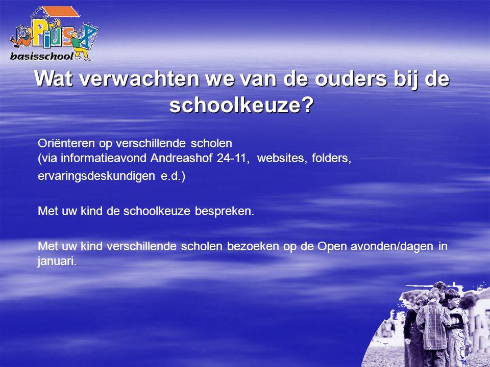 Wat verwachten we van de ouders bij de schoolkeuze? Oriënteren op verschillende scholen (via informatieavond Andreashof 24-11, websites, folders, erva