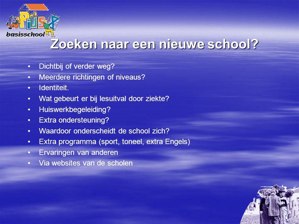 Zoeken naar een nieuwe school? Dichtbij of verder weg? Meerdere richtingen of niveaus? Identiteit. Wat gebeurt er bij lesuitval door ziekte? Huiswerkb