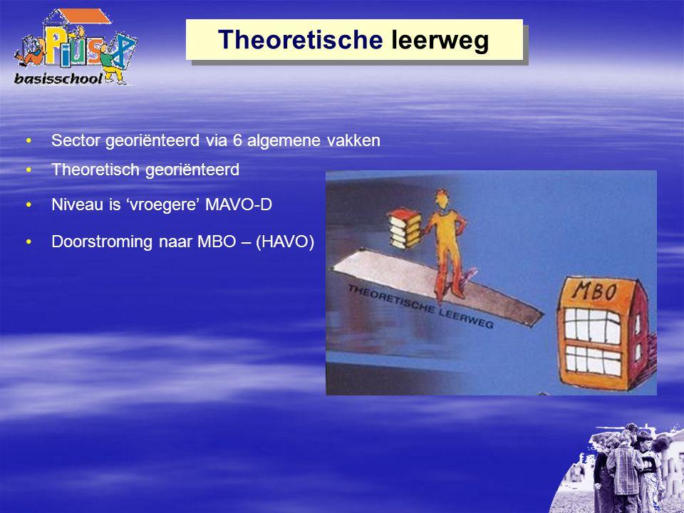 Theoretische leerweg Sector georiënteerd via 6 algemene vakken Theoretisch georiënteerd Niveau is 'vroegere' MAVO-D Doorstroming naar MBO – (HAVO)