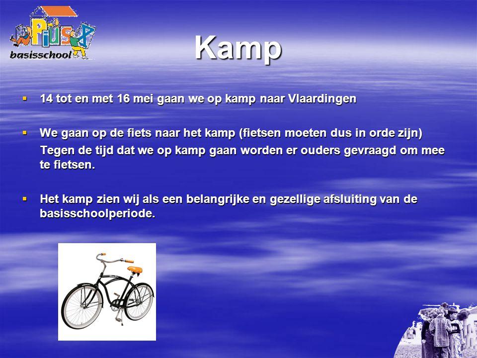Kamp  14 tot en met 16 mei gaan we op kamp naar Vlaardingen  We gaan op de fiets naar het kamp (fietsen moeten dus in orde zijn) Tegen de tijd dat we op kamp gaan worden er ouders gevraagd om mee te fietsen.