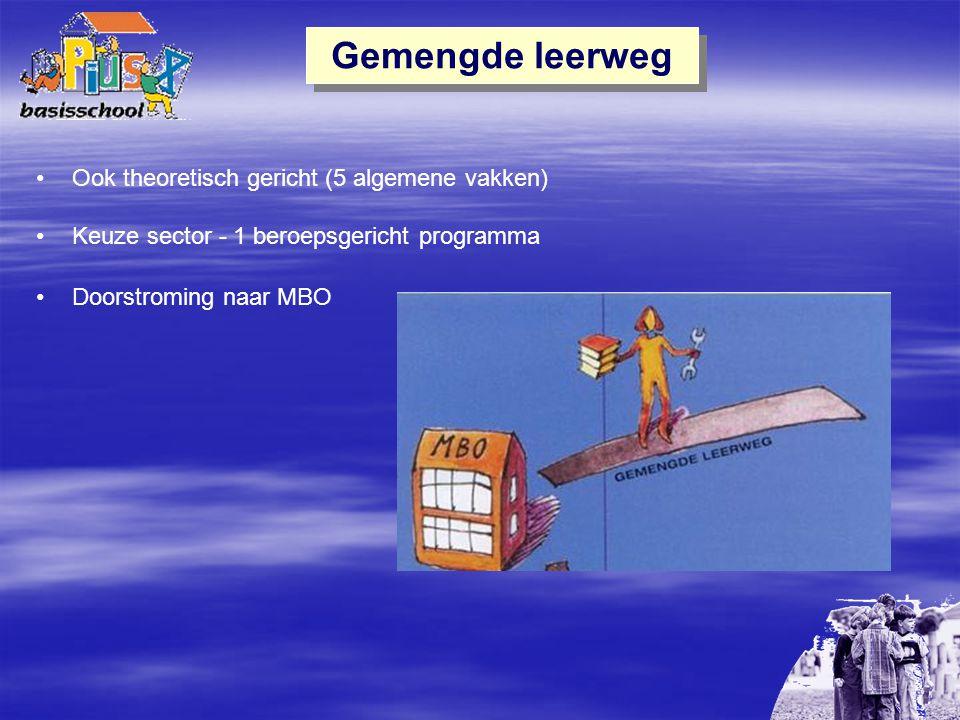Gemengde leerweg Ook theoretisch gericht (5 algemene vakken) Keuze sector - 1 beroepsgericht programma Doorstroming naar MBO