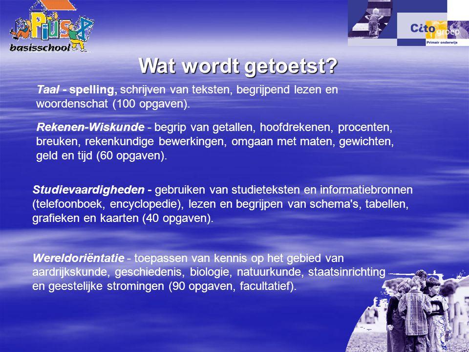 Taal - spelling, schrijven van teksten, begrijpend lezen en woordenschat (100 opgaven). Wereldoriëntatie - toepassen van kennis op het gebied van aard